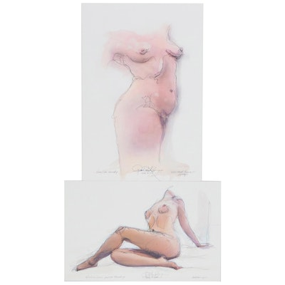 Robert Lackney Mixed Media Paintings of Nudes