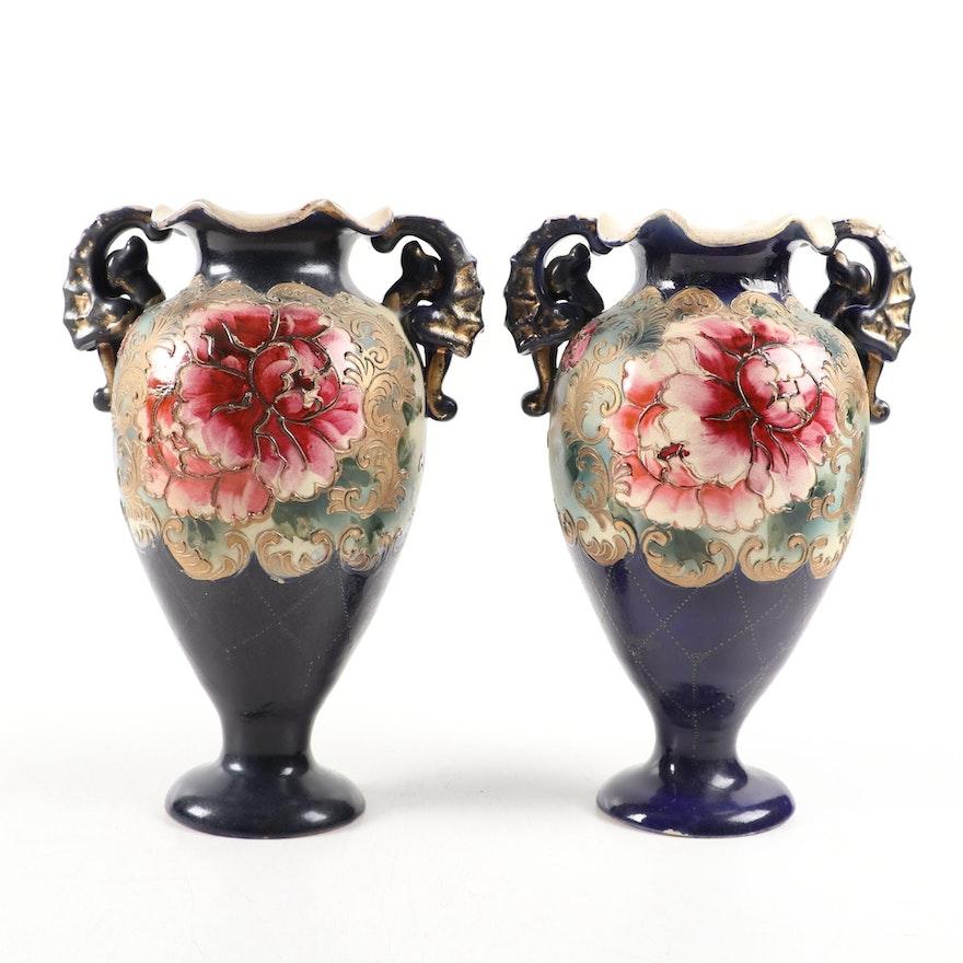 Pair of Hand-Enameled Amphora Porcelain Vases with Floral Motif, Vintage