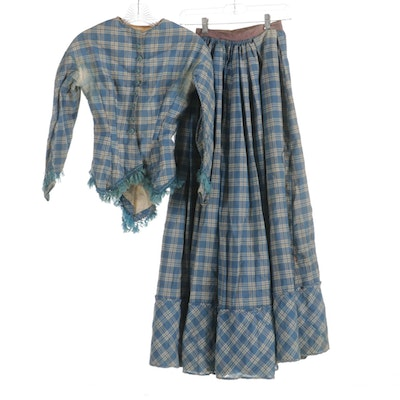 Victorian Blue and White Plaid Walking Suit