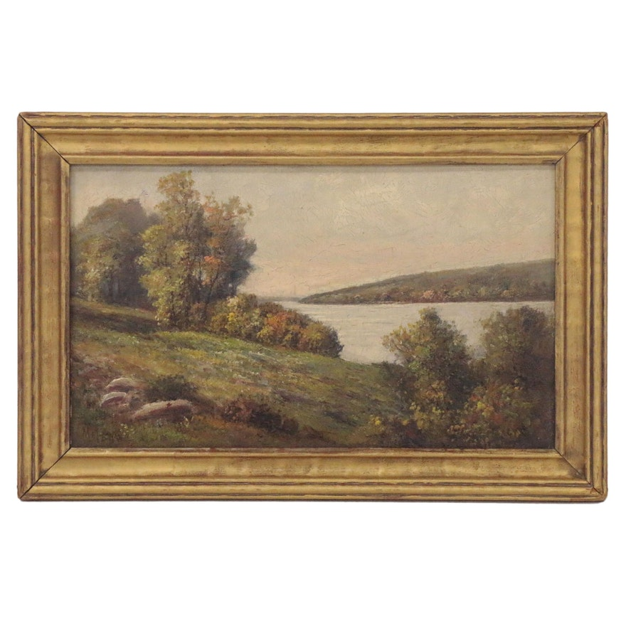 Frederick Matzow Oil Painting of River Landscape, Late 19th Century