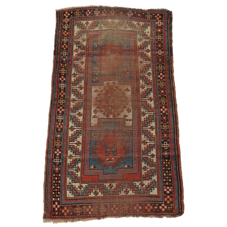 3'3 x 6' Hand-Knotted Caucasian Bordjalou Kazak Wool Rug