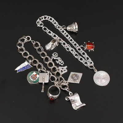 Sterling Charm Bracelets Including Class Ring and Ladybug Charms