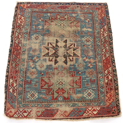 3'6 x 4'3 Hand-Knotted Caucasian Dagestan Rug, Mid to Late 19th Century