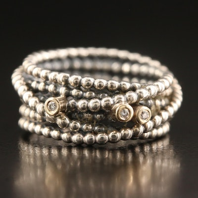 Sterling Silver Beaded Wire Diamond Ring