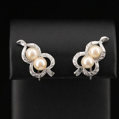 Vintage 950 Silver Screw Back Pearl Earrings