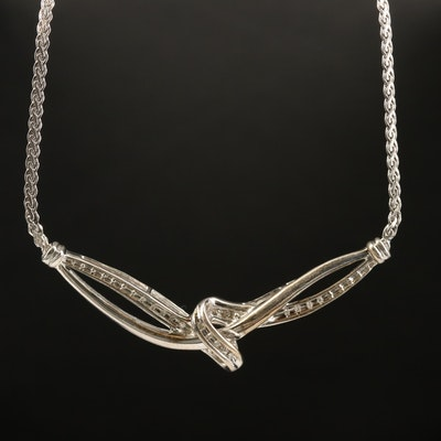 Sterling Diamond Stationary Necklace