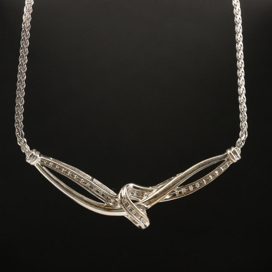 Sterling Diamond Stationary Necklace