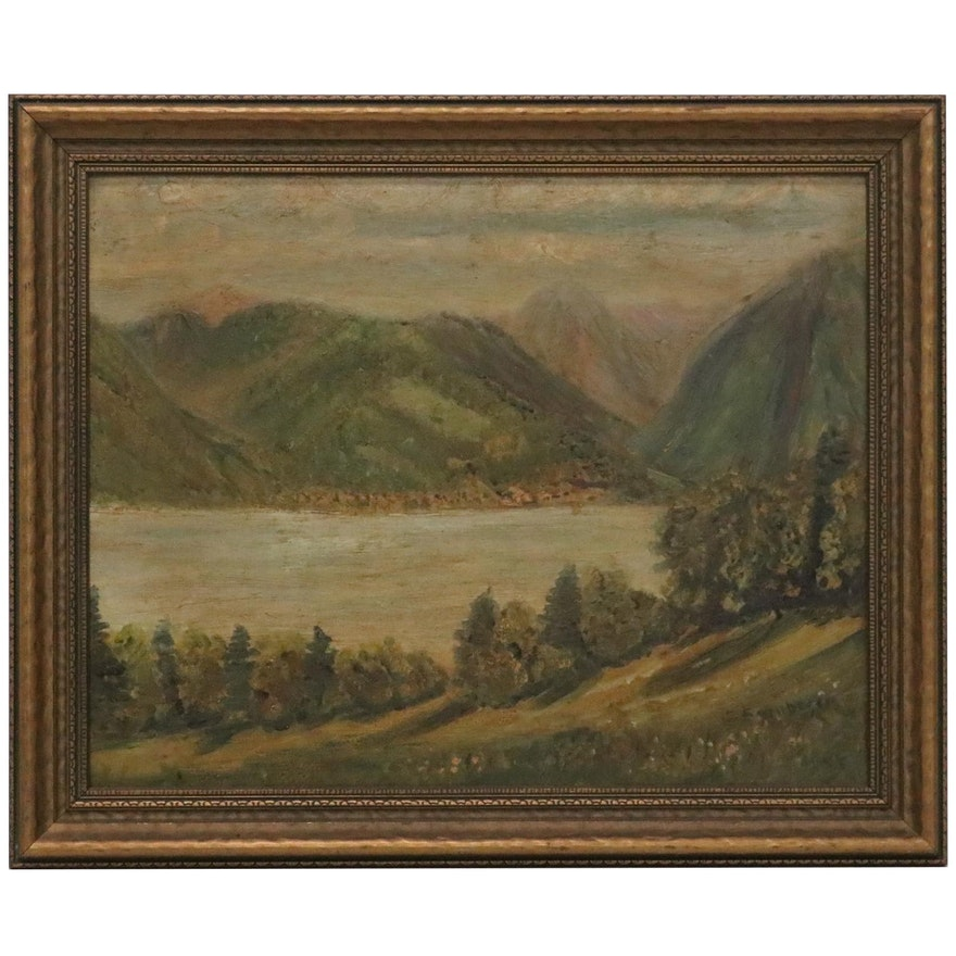 River Valley Oil Painting, Early to Mid-20th Century