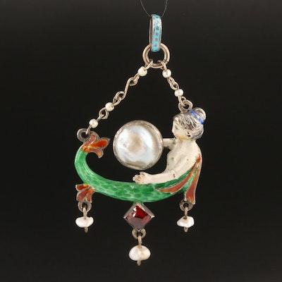 Antique 800 Silver Pearl, Garnet and Enamel Mermaid Pendant
