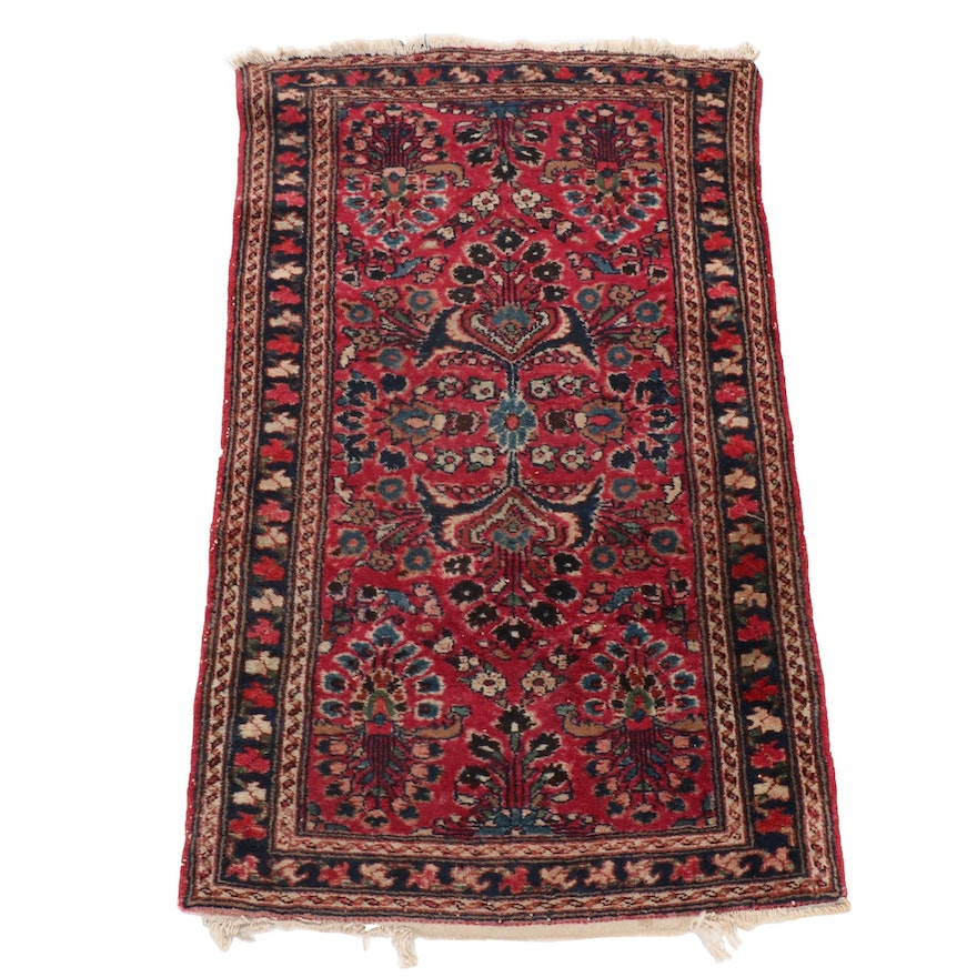 2'7 x 4'2 Hand-Knotted Persian Sarouk Wool Accent Rug