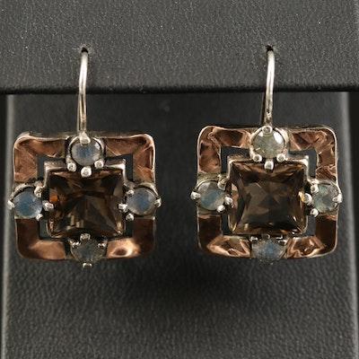 Sterling Smoky Quartz and Labradorite Square Earrings