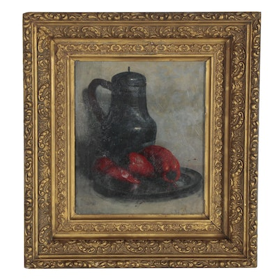 Oscar Wilson Still Life Oil Painting with Peppers, Late 19th Century