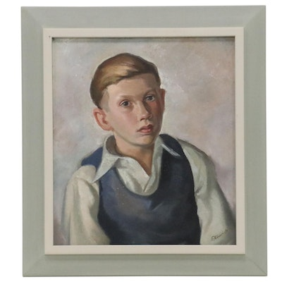 """Anthony Eterovich Oil Painting """"My Friend,"""" 1940"""
