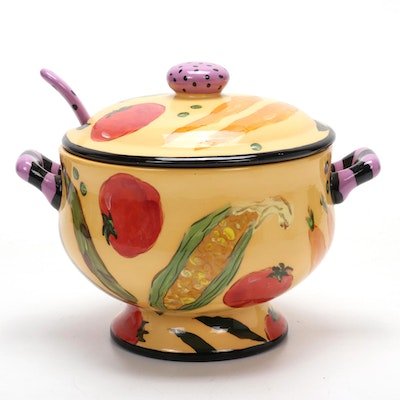 Droll Designs Hand-Painted Soup Tureen  with Matching Ladle, Late 20th Century