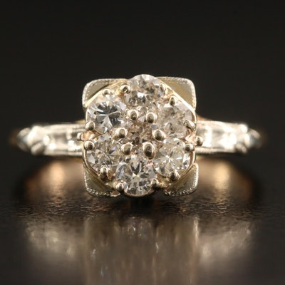 Vintage 14K Diamond Cluster Ring