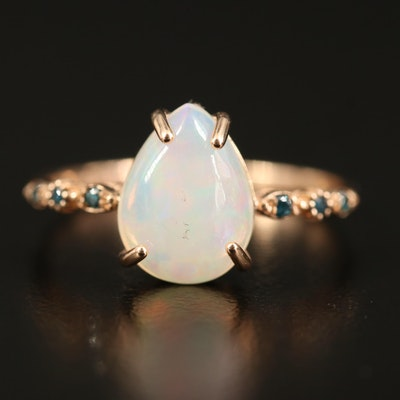 14K Opal and Diamond Teardrop Ring