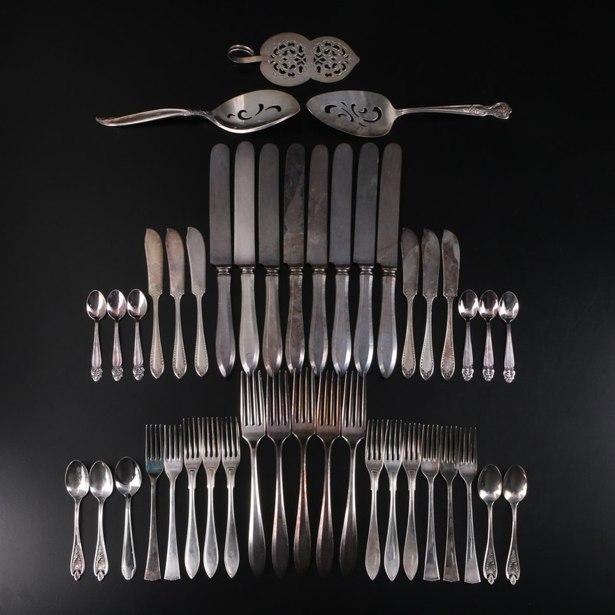 1847 Rogers Bros. with Other Silver Plate Utensils and Serveware