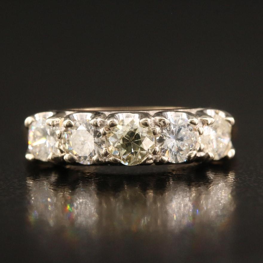 14K Five Stone 1.10 CTW Diamond Ring
