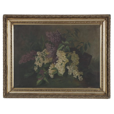 Still Life Oil Painting of Lilacs, Late 19th Century