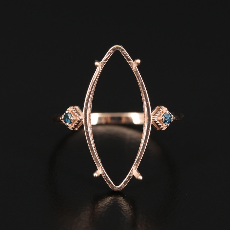 14K Diamond Semi Mount Ring