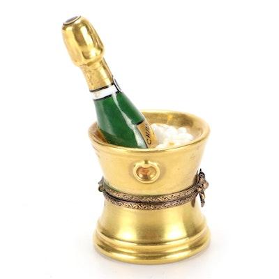 """Décor Céram Hand-Painted """"Champagne"""" Porcelain Limoges Box"""