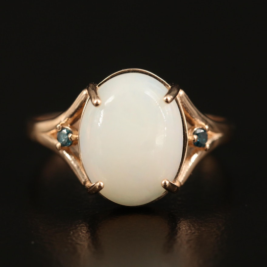 14K Opal and Diamond Oval Ring