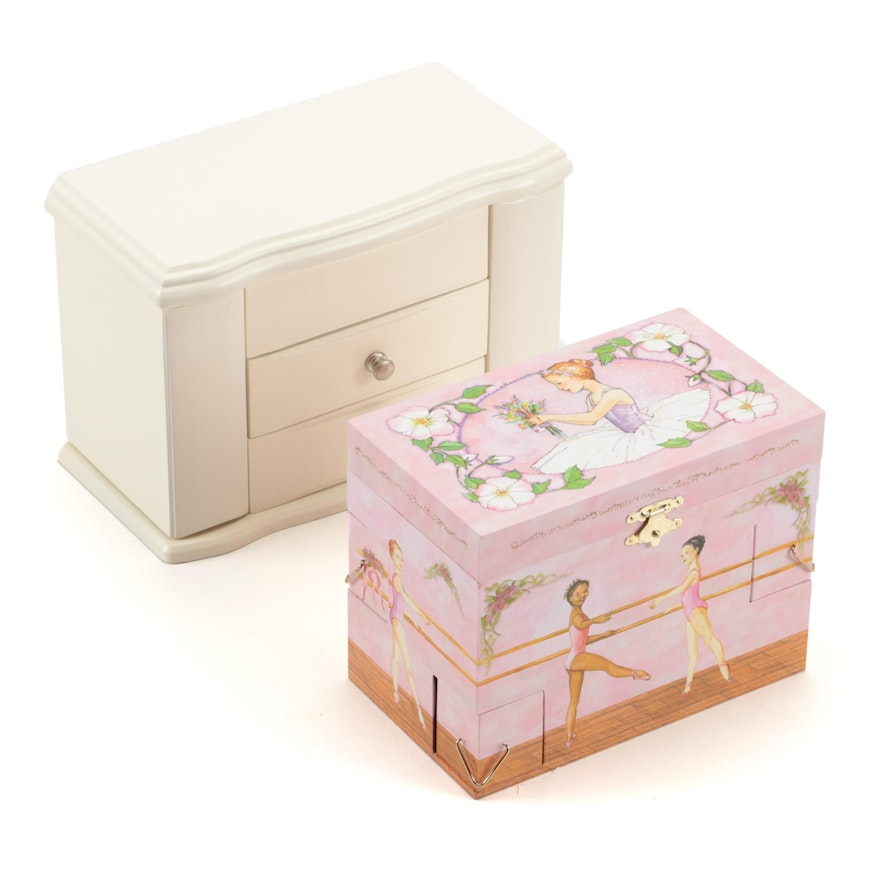 "Mele & Co. Musical Jewelry Box and ""Ballet School"" Musical Jewelry Box"