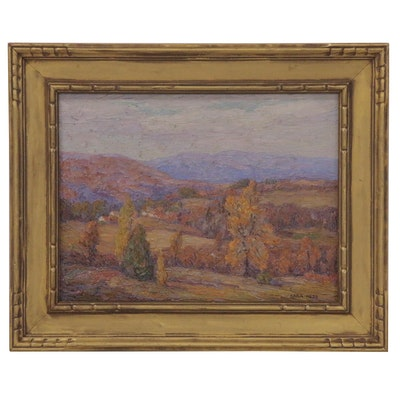 "Sara Hess Oil Painting ""October in the Berkshires,"" Early 20th Century"