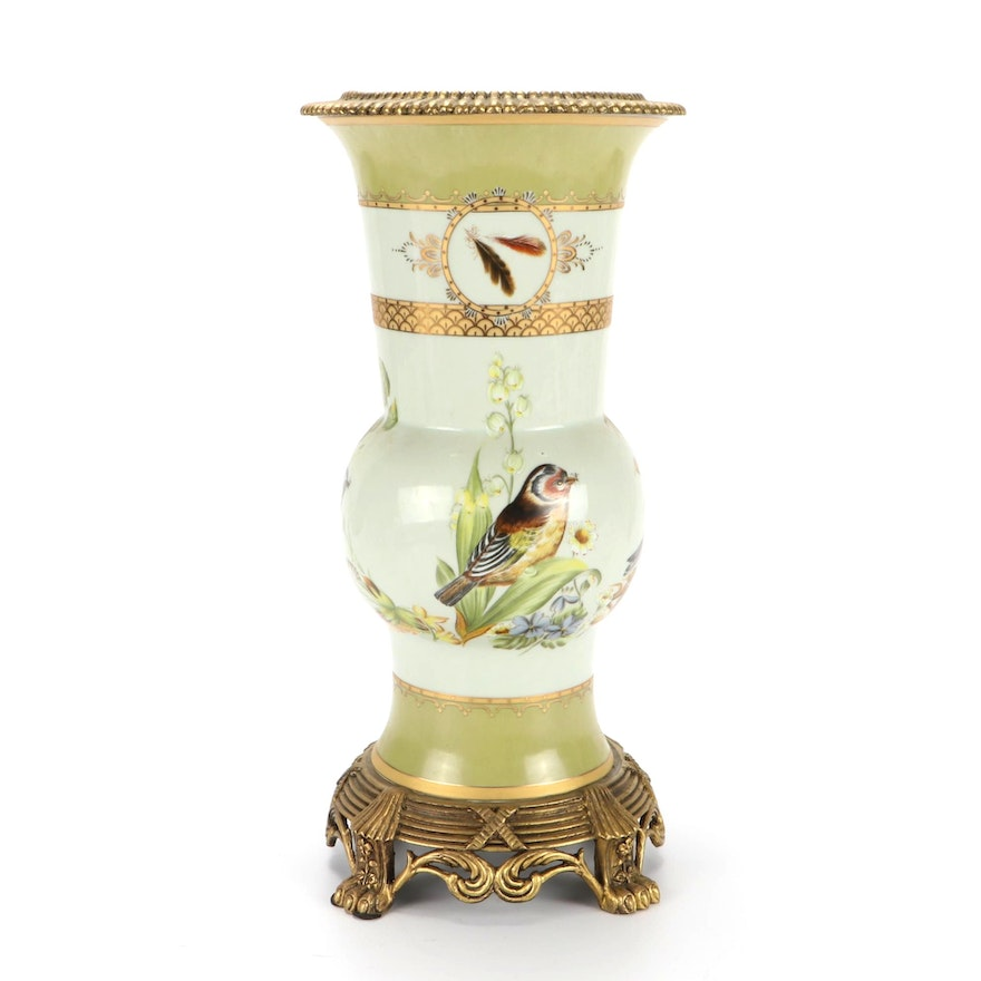 Ormolu Mounted Porcelain Vase, Late 20th Century