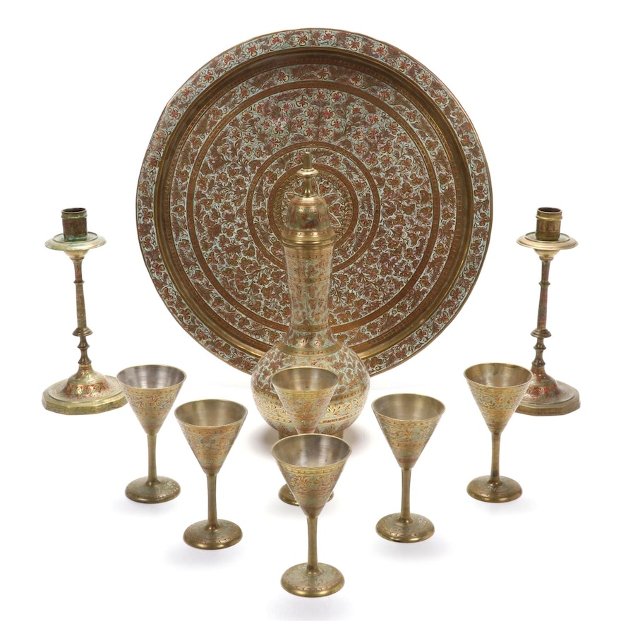 Middle Eastern Enameled Brass Decanter Set with Tray and Candlesticks