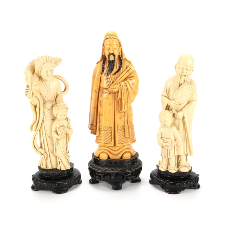 Traditional Chinese Carved Figurines on Black Wooden Bases