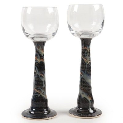 Pair of Art Pottery Stemmed Goblets and Glazed Vase, Late 20th Century