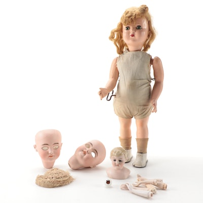 """""""Walking Wanda"""" Wind Up Doll with Additional Doll Parts, Vintage"""