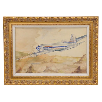 Watercolor Painting of United Airplane, Late 20th Century