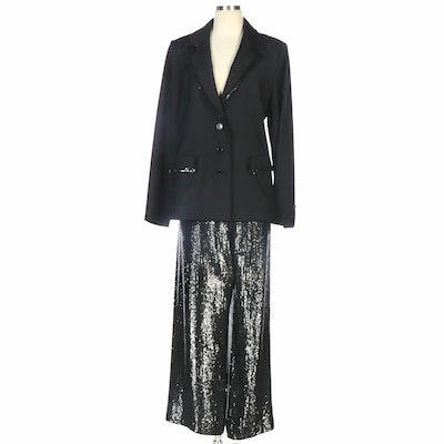 Pamella Roland Sequin Trimmed Black Blazer and Sequined Trousers