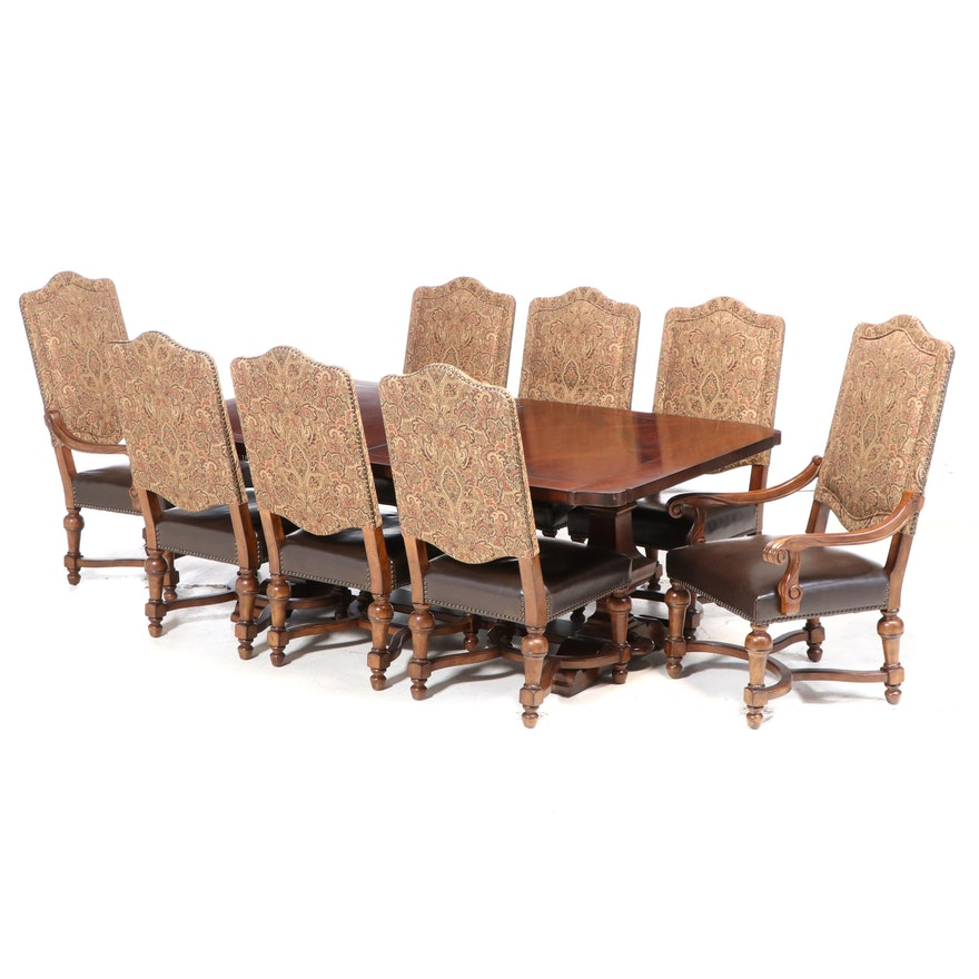"""Bernhardt """"Tuscan Villa"""" Expandable Dining Table with Eight Dining Chairs"""