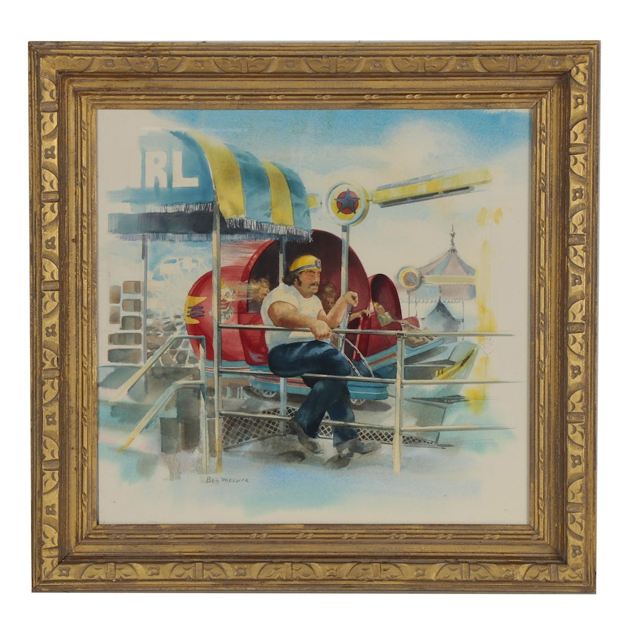 Ben Messick Watercolor Painting of Carnival Worker, 20th Century