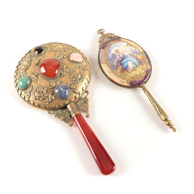 East Asian Stone Decorated Hand Mirror and Gilt Enamel Hand Mirror