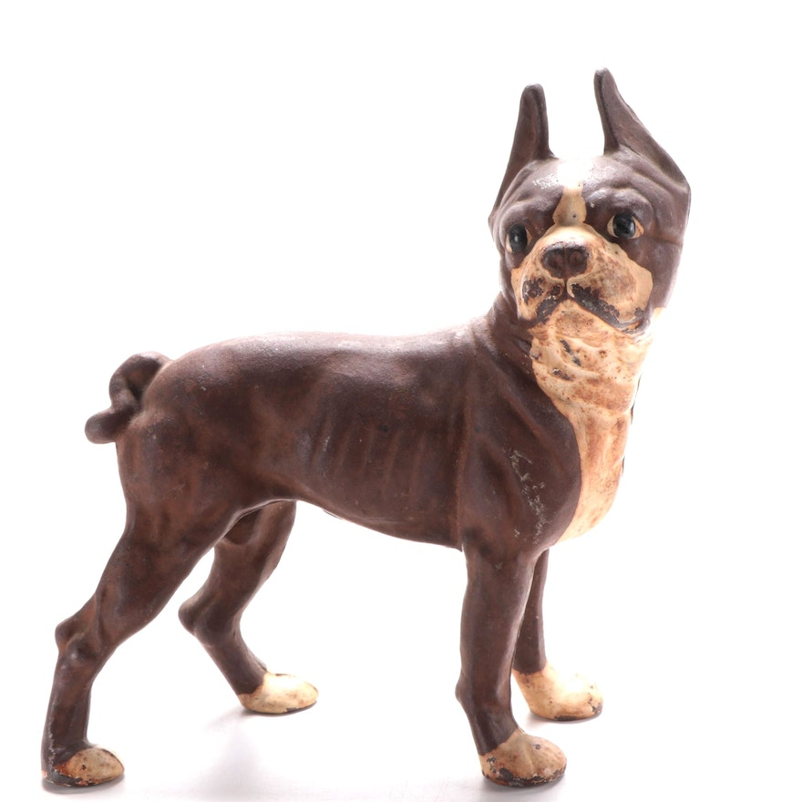 Reproduction Boston Terrier Cast Iron Doorstop in the Hubley Style, Mid 20th C