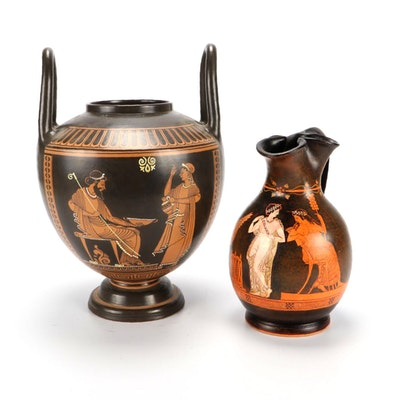Greek Hand-Painted Pottery Vessels, 20th Century