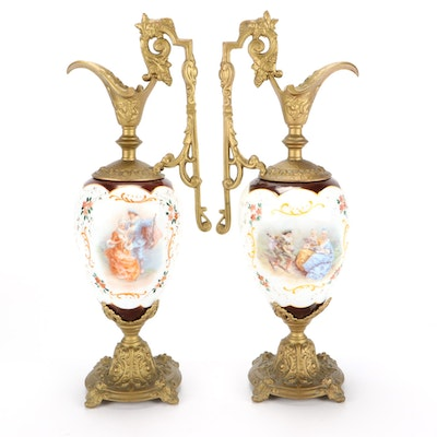 Porcelain Ormolu Mounted Mantel Urns, Early to Mid 20th Century