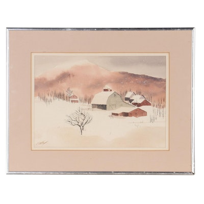 Ray Loos Watercolor Painting of Winter Farm Scene, Late 20th Century