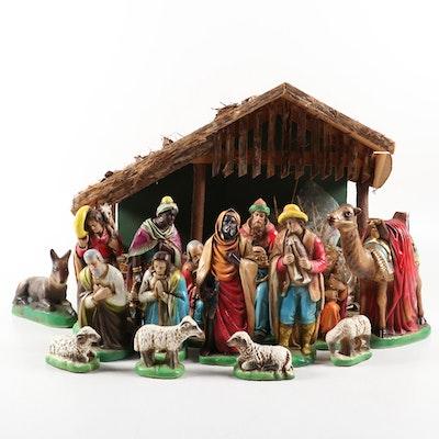 Hand-Painted Chalkware Nativity Set, Mid-20th Century