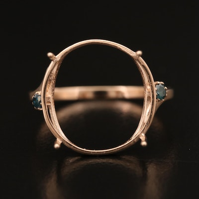 14K Rose Gold Semi-Mount Diamond Ring