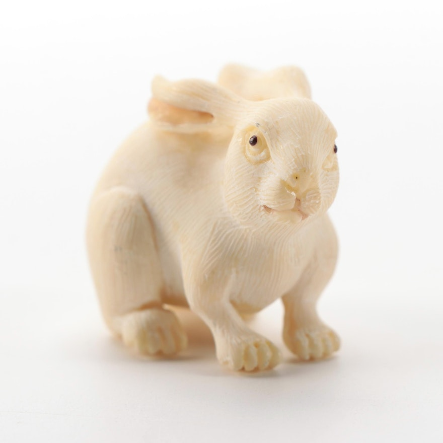 Asian Hand-Carved Resin Rabbit Netsuke Figurine