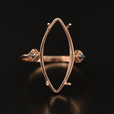 14K Rose Gold Semi-Mount and Diamond Ring