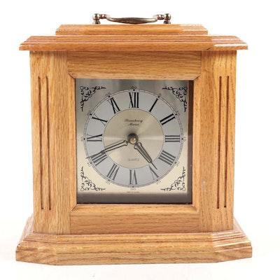 Strausbourg Manor Oak Case Quartz Mantel Clock, Late 20th Century