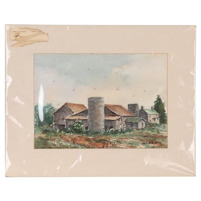"Joe Emmett Watercolor Painting ""South of Union,"" Mid-20th Century"