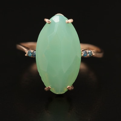 14K Rose Gold Chrysoprase and Diamond Ring