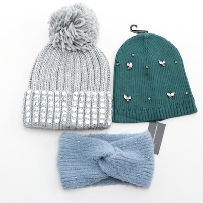 DKNY Studded Stocking Cap with INC Embellished Knit Cap and Headband